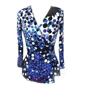 Anne Klein Blue & Black Patterned Blouse XS Easter